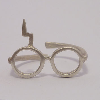 Harry Potter ring Lightning glassesSterling silver by thinkupjewel