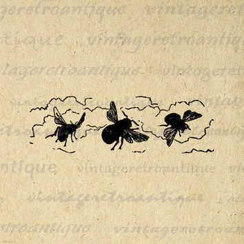 Printable Graphic Three Bees Download Image Digital Artwork Vintage Clip Art for Transfers Making Prints etc HQ 300dpi No.2404