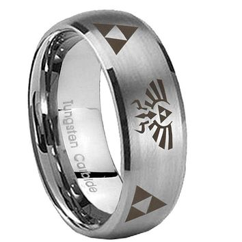 8MM Classic Satin Silver Dome Legend of Zelda Tungsten Laser Engraved Ring