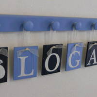Whale Nursery Decor Art - Navy Blue Nursery Nautical Decor - Kids Name Signs with 7 Wooden Hooks  - Personalized for Baby LOGAN with Whales