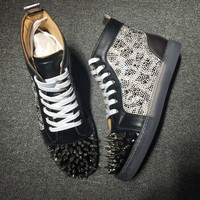 Christian Louboutin CL High Pik Pik Style #1976 Sneakers Fashion Shoes Best Deal Online