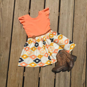 Adelle dress,Girls Aztec dress,knit toddler dress,mustard  dress,infant coming home outfit,toddler summer dress,newborn photo prop