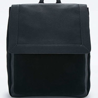 Black Suede Pocket Backpack - Urban Outfitters
