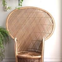 S A L E /// Vintage Wicker Peacock Chair / Rattan