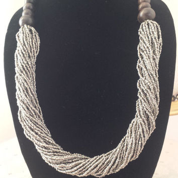 Dark Silver Beaded Boho Necklace Jewelry Womens Gifts @MystifyGifts #necklace #womensfashion #bohostyle #wishlist #womensaccessories #gifts