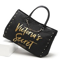 Victoria Fashion New Letter Print Rivets Shopping Leisure Handbag Shoulder Bag Women Black