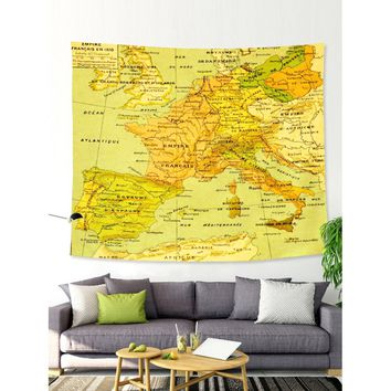Map Print Tapestry