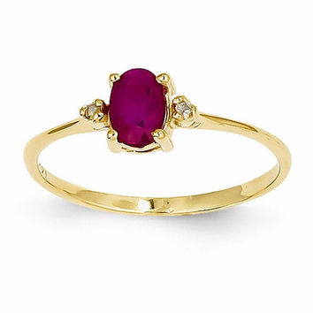 14k Yellow Gold Diamond Ruby Birthstone Ring
