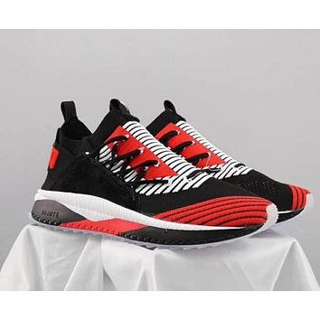 PUMA TSUGI JUN CUBISM Fashion Women Men Casual Shock Absorption Socks Shoes Sport Running Sneakers Black Red I-CQ-YD