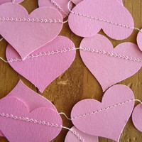 Pink Paper Heart Garland, Weddings, Receptions, Bridal or Baby Showers, Birthday Party, All Occasion