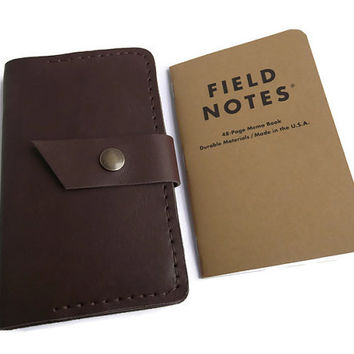 Leather Field Notes Cover, Travel Journal, Field Notes Wallet, Notes Cover, Fiel Notes Holder, Full Grain Italian Leather, Hand Stitched