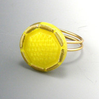 Yellow Czech Glass Button Ring