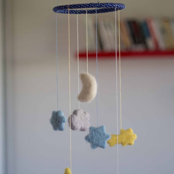 Cloud Baby Mobile - Cloud Nursery Mobile -Cloud Crib Mobile - Cloud Nursery Decor- Cloud Baby Room Decor -Needle Felted Cloud Mobile