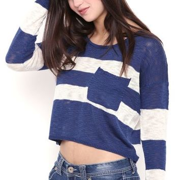 Long Sleeve Striped Cropped Knit Sweater with Pocket