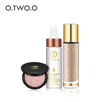 O.TWO.O 3pcs Faces Makeup Set Illuminating Highlighter Powder& Essential Oil Cream Primer & Waterproof Liquid Foundation Makeup