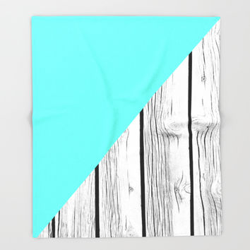 Aqua Blue vs Old Weathered Wood Throw Blanket by ARTbyJWP