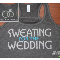 SWEATING Flowy Tank, workout jersey 2-sided racerback tank, Sweating for the Wedding