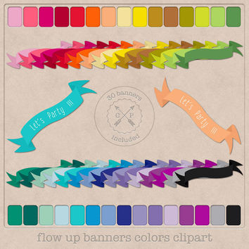 Flowing Ribbons clip art and Banners clipart in a rainbow of 30 colors for digital scrapbooking printing graphic design card and invitations