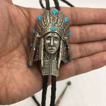 Indian Chief Headdress Sterling Silver Turquoise Leather Bolo