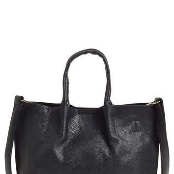 Street Level Faux Leather Crossbody Mini Tote & Wristlet
