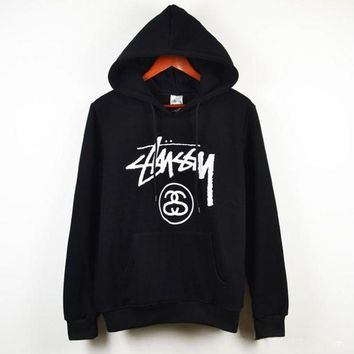 DCCKUNT Trendy Stussy Basic Hoodie Long Sleeve Cotton Top Sweater Pullover With Thick Fleece