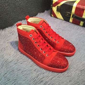 Best Online Sale Christian Louboutin CL Louis Strass Bling Blin Red Men's Women Flat Shoes Boots