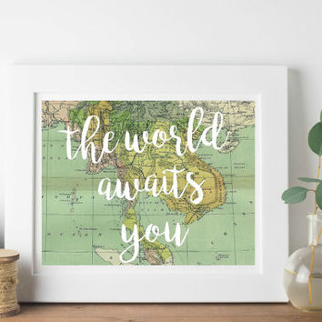 The world awaits you, printable wall art, printable nursery art, world map art, 8x10