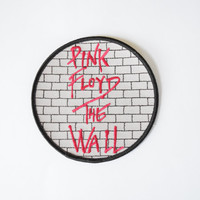 "Pink Floyd ""The Wall"" Gray Brick Iron-On Unused Circular Patch // Classic Rock Music Memorabilia"