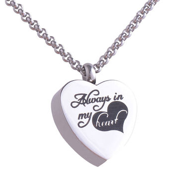 "Stainless Steel Heart Cremation  Pendant Necklace ""Always in my heart"" Pets Keepsake Urns for Ashes Silver Plated"