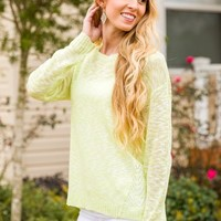 The Way Things Used To Be Sweater-Lime - NEW ARRIVALS
