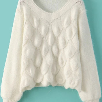 White Long Sleeve Scales Pattern Mohair Sweater