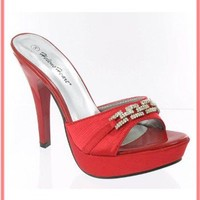 Red High Heels-Red Satin Platform High Heeled Mules