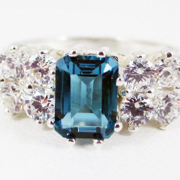 London Blue Topaz and White CZ Emerald Cut Ring Sterling Silver 925, December Birthstone Ring, Radiant Blue Topaz, Emerald Cut Blue Topaz