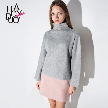 Spring Knit Loose High Collar Neck Solid Sweatshirt a13300