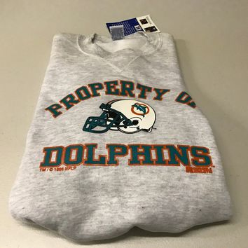 YOUTH RETRO PROPERTY OF MIAMI DOLPHINS OLD LOGO GRAY RUSSELL ATHLETIC SWEATSHIRT