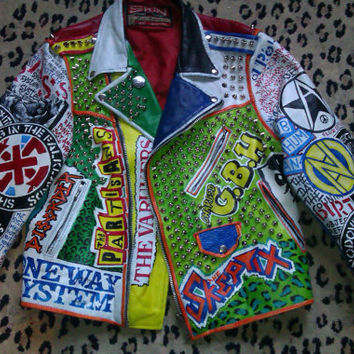 custom painted/studded punk metal leather jacket