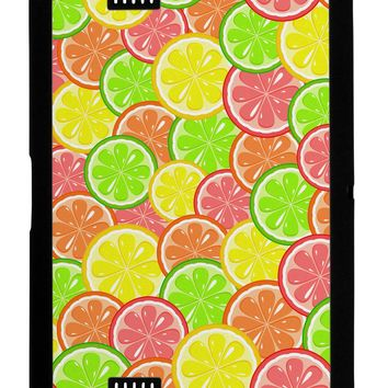 Colorful Citrus Fruits Black Kindle Fire HD Cover All Over Print by TooLoud