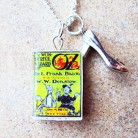 Wizard of Oz Necklace with Book Charm and Metal by sophiesbeads