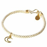 Chibi Jewels Midnight Cord Bracelet with Celestial Frame Charm in Gold
