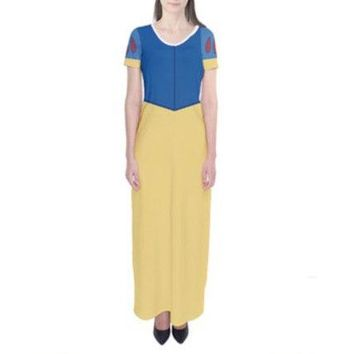 Adult Snow White Inspired Short Sleeve Maxi Dress