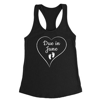 Due in June pregnancy announcement baby reveal baby shower Mother's day gift Ladies Racerback Tank Top