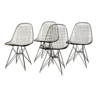Pre-owned Black Original Eames Wire Chairs - Set of 4
