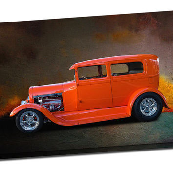 Hot Rod Mirror Wrapped Canvas