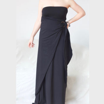 Off the Shoulder Maxi Dress/  Plus Size Long Tube Dress / Multiway Off Shoulder Maxi Dress / Wrap Black Long Dress/  Jersey Fabric