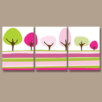 Nursery Tree Wall Art Canvas Artwork Child Pottery Colorful Pink Green Choose Colors Set of 3 Prints Decor Bedroom Bedding Bathroom Three