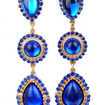 Sapphire Blue Gemstone Teardrop Earrings