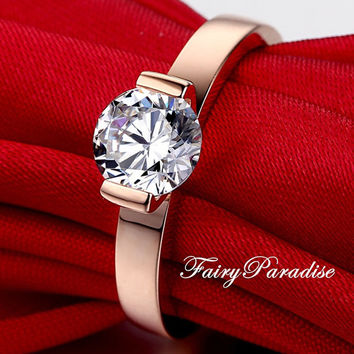 1 Ct Round Cut man made diamond Solitaire Tension Set Rose gold Plated Engagement Wedding Promise Ring Anniversary Band ( FairyParadise )