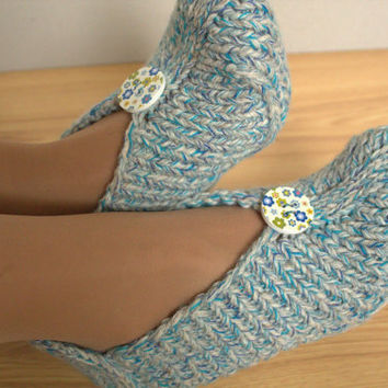 Knitted home slippers with buttons, grey - blue - turquoise slippers, knitted home shoes for woman