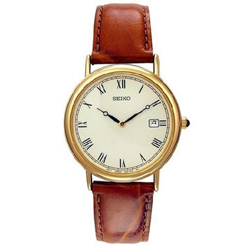 Seiko SKP016 Men's Dress Gold Tone Dial Brown Leather Strap Gold Tone Watch