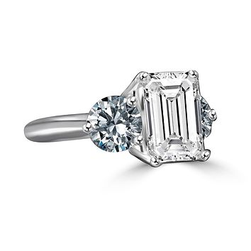 3.5ct Intensely Radiant Emerald  Diamond Veneer Cubic Zirconia  with 1 CT Round Stone ring engagement wedding ring in sterling silver 635R2118EC